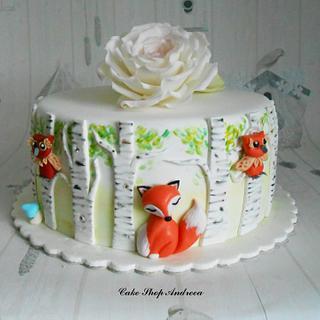 Birch trees birthday cake