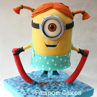 Minion with a swimming noodle and flippers