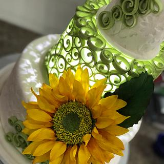 Illuminated Quilled Tier Cake