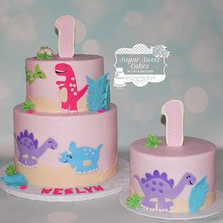 Girly Dino 1st Bday - Cake by Sugar Sweet Cakes