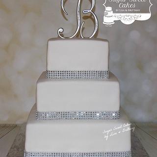Monogram/Rhinestone Banding - Cake by Sugar Sweet Cakes