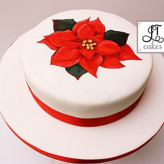 Poinsettia painted cake