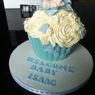 Baby boy giant cupcake