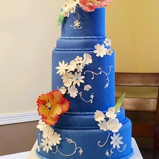 The blue cake inspired by  William Morris (Medway) design