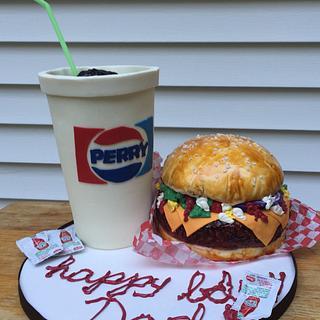 Cheeseburger and Soda Cakes