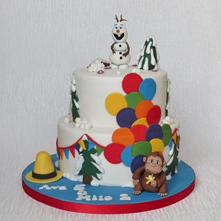 Frozen and Curious George Birthday Cale - Cake by Pam