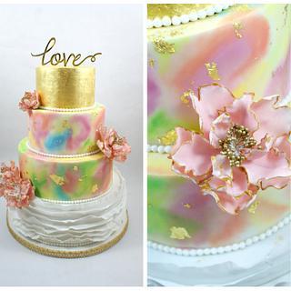 wedding cake with 24 carat gold
