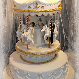 Carousel Wedding Cake, Rotating and Lit - Cake by Mother and Me Creative Cakes
