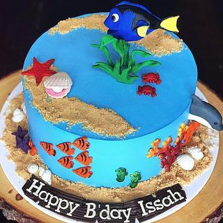 Underwater theme cake in whipped cream