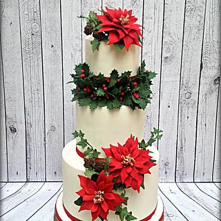 Poinsettias Christmas Cake