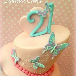 Topsy Turvy 21st Butterfly Cake