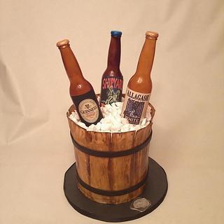 Bucket of beer cake with edible bottles