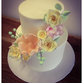 Pastel flower Cake  - Cake by Nicki Sharp
