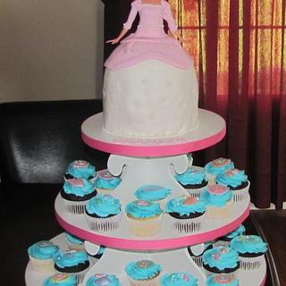 Princess Ariel cupcake tower