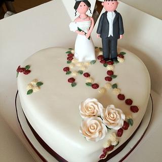 Single tier Heart wedding cake