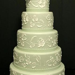 Buttercream Iced Wedding Cakes with Romantic Brush Embroidery
