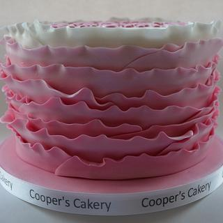 Pink Ombre Ruffles - Cake by Rebecca Cooper