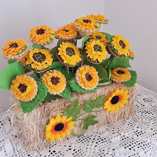 Sun flower cookies with royal icing
