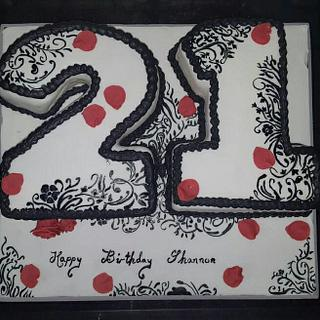 21st hand painted cake - Cake by joe duff