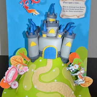 Knights and Princesses Pop-up Whimsical castle book cake!