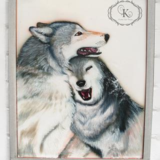Edible painting of wolves