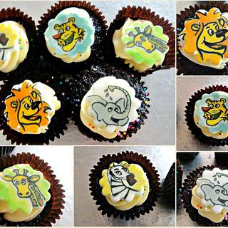 Hand painted animal cupcake toppers