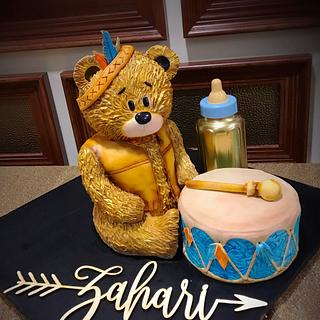 Teddy Bear baby shower cake Boy - Cake by Talk of the Town Cakes LLC