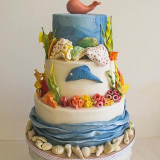 Beach/Ocean Theme Wedding Cake