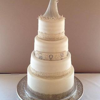Wedding Cake with Sugar Beading - Cake by The Ruffled Crumb
