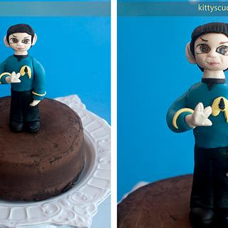 Captain Spock Cake topper and Chocolate layer cake