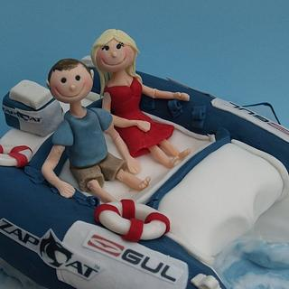 Boat birthday cake with figures