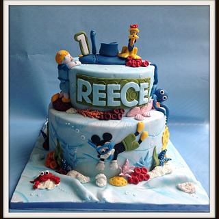 Underwater Mickey themed 1st Birthday cake
