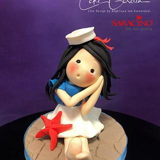 Navy girl caketopper - Cake by Cake Garden
