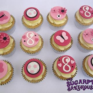 Very Girly Football Themed Cupcakes