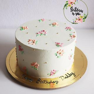 Simple pallette knifed painted Rasmalai cake