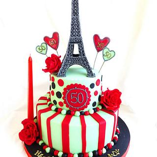 """La Vie En Rose"" . Paris theme cake with Eiffel tower and red roses."