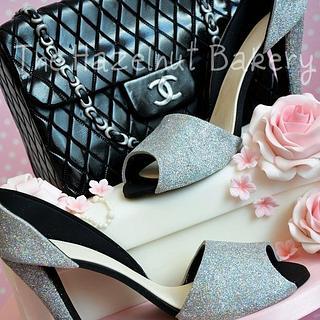 Sparkly shoes and Chanel handbag cake! - Cake by HazelnutBakery