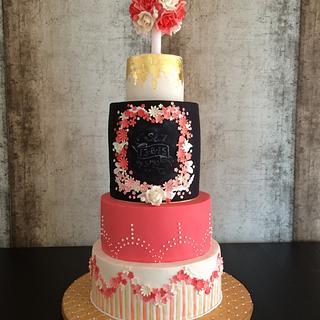Coral, Black & Gold Wedding Cake