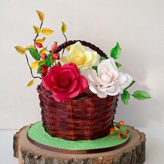 Basket of Roses Cake