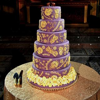 Purple and Gold - Cake by Rebecca Grace