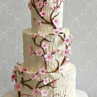 Tree Trunk, Cherry Blossom Wedding Cake