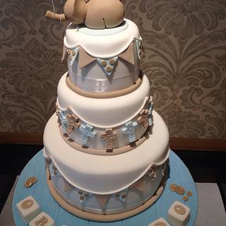 Cute elephant Christening cake - Cake by Nina Stokes