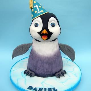 3D baby penguin cake