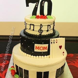 Music and Cards theme 3 tier cake for mom's 70th birthday