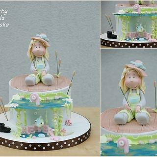 fishing girl - Cake by Myska
