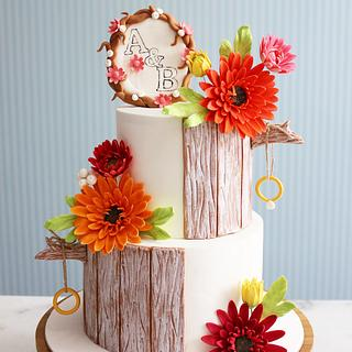 Gerbera daisy engagement cake