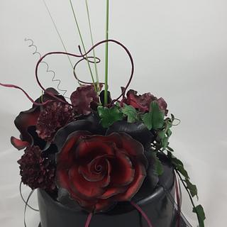 Black-Red Weddingday Cake - Cake by StyledSugar