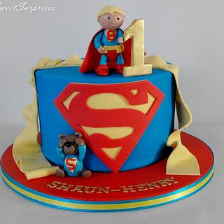 Baby Superman birthday cake