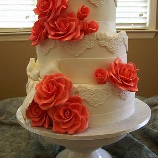 Coral Rose Wedding - Cake by Theresa