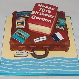 Travel-themed birthday cake